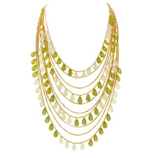 Goldtone Layered Resin Bead Necklace