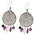 Charming Life Sterling Silver Dream Catcher Amethyst Dangle Earrings
