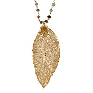 Charming Life 24k Gold-dipped Leaf Necklace