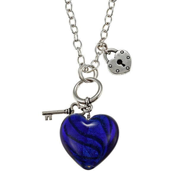 Charming Life Silvertone Blue Glass Heart Necklace