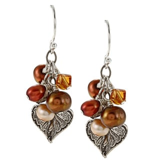 Charming Life Silver Crystal and FW Pearl Cluster Earrings (4-5 mm)