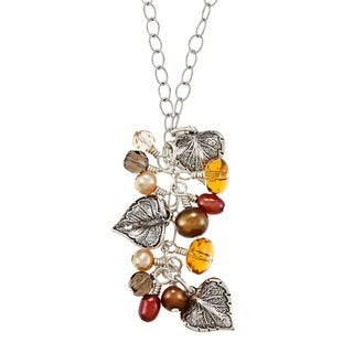 Charming Life Silver FW Pearl and Multi-gemstone Cluster Necklace (4-6 mm)
