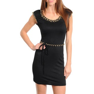 Stanzino Women's Black Dress with Gold Chain Detail