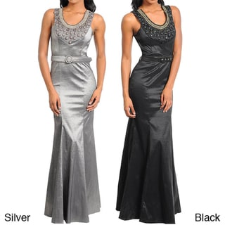 Stanzino Women's Sleeveless Belted Gown with Neckline Detail
