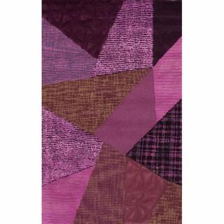 nuLOOM Handmade Violet Patchwork Wool Rug