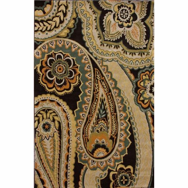 nuLOOM Handmade Modern Dark Brown Paisley Wool Rug