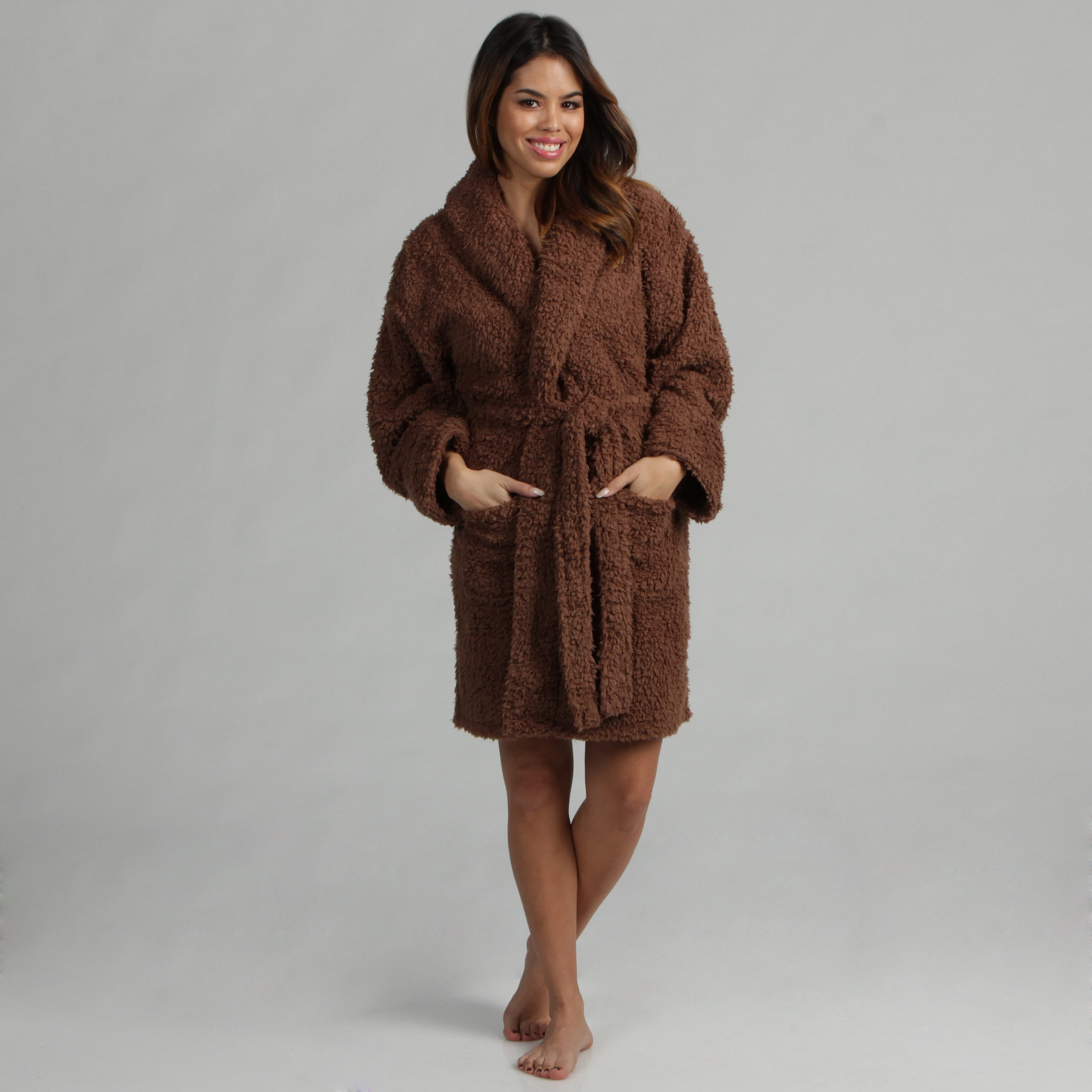 Aegean Apparel Women's Brown Sherpa Textured Plush Robe at Sears.com