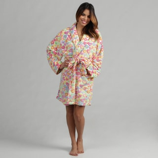 Aegean Apparel Women's Crazy Hearts Jacquard Plush Bathrobe