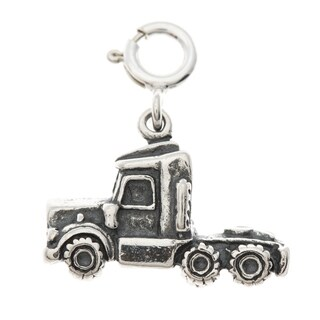 Sterling Silver Semi Truck Charm