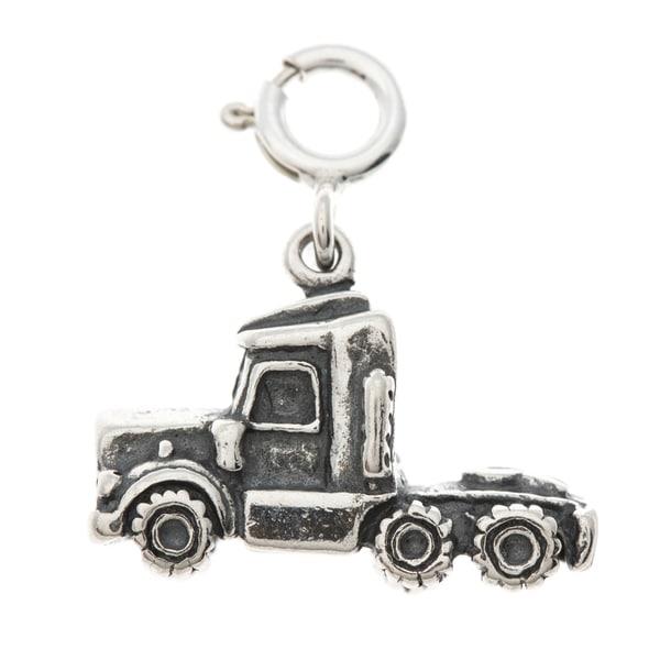 Sterling Silver Semi Truck Charm