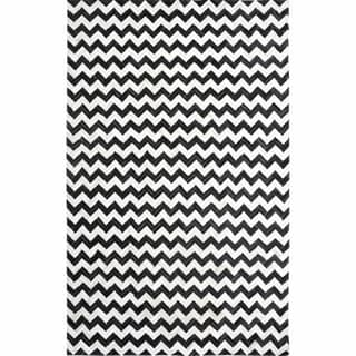nuLOOM Handmade Black Chevron Cowhide Leather Rug