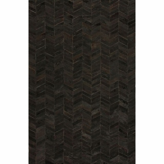 nuLOOM Handmade Modern Black Chevron Cowhide Leather Rug