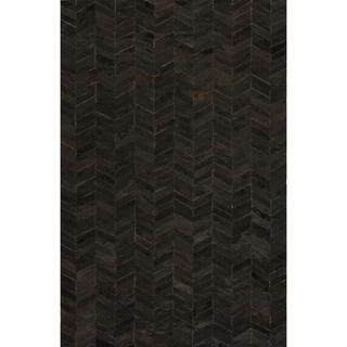 nuLOOM Handmade Modern Black Chevron Cowhide Leather Rug
