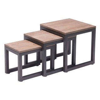 Civic Center Distressed Natural Finish Nesting Tables