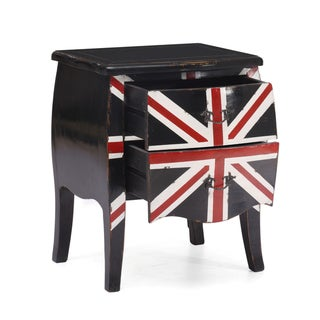Union Jack Distressed Black Small Cabinet