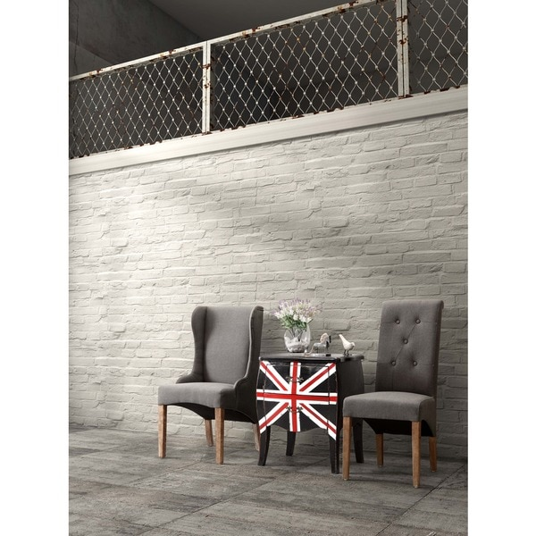 Union Jack Distressed Black Small Cabinet