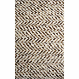 nuLOOM Handmade Geometric Cowhide Leather Rug