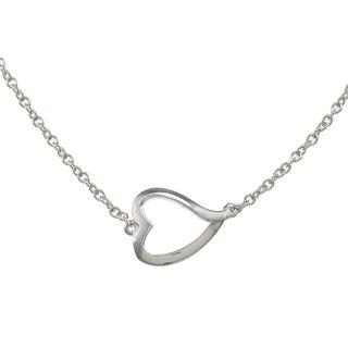 La Preciosa Sterling Silver 16-inch Open Curved Heart Necklace
