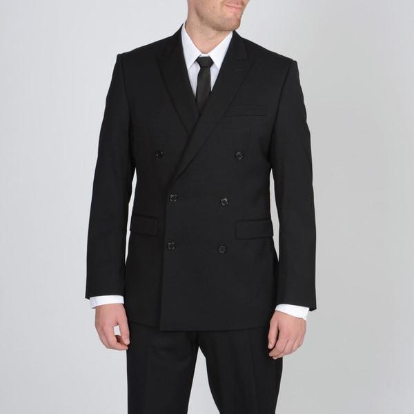 Calvin Klein Men's Black Double Breasted Wool Suit