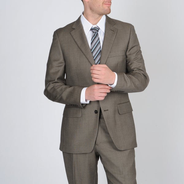 Tasso Elba Men's Khaki Nailhead Wool/Cashmere Blend Suit