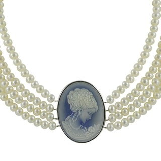 Sterling Silver FW Pearl, Blue or Red Agate Cameo Necklace (5-7 mm)