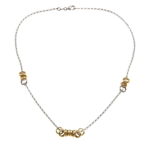 La Preciosa Two-tone Sterling Silver Ring Station Necklace