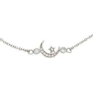 La Preciosa Sterling Silver CZ Star and Crescent Moon Necklace