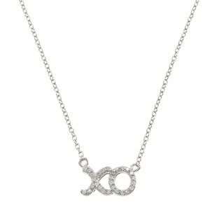 La Preciosa Sterling Silver Cubic Zirconia 'XO' 17-inch Necklace