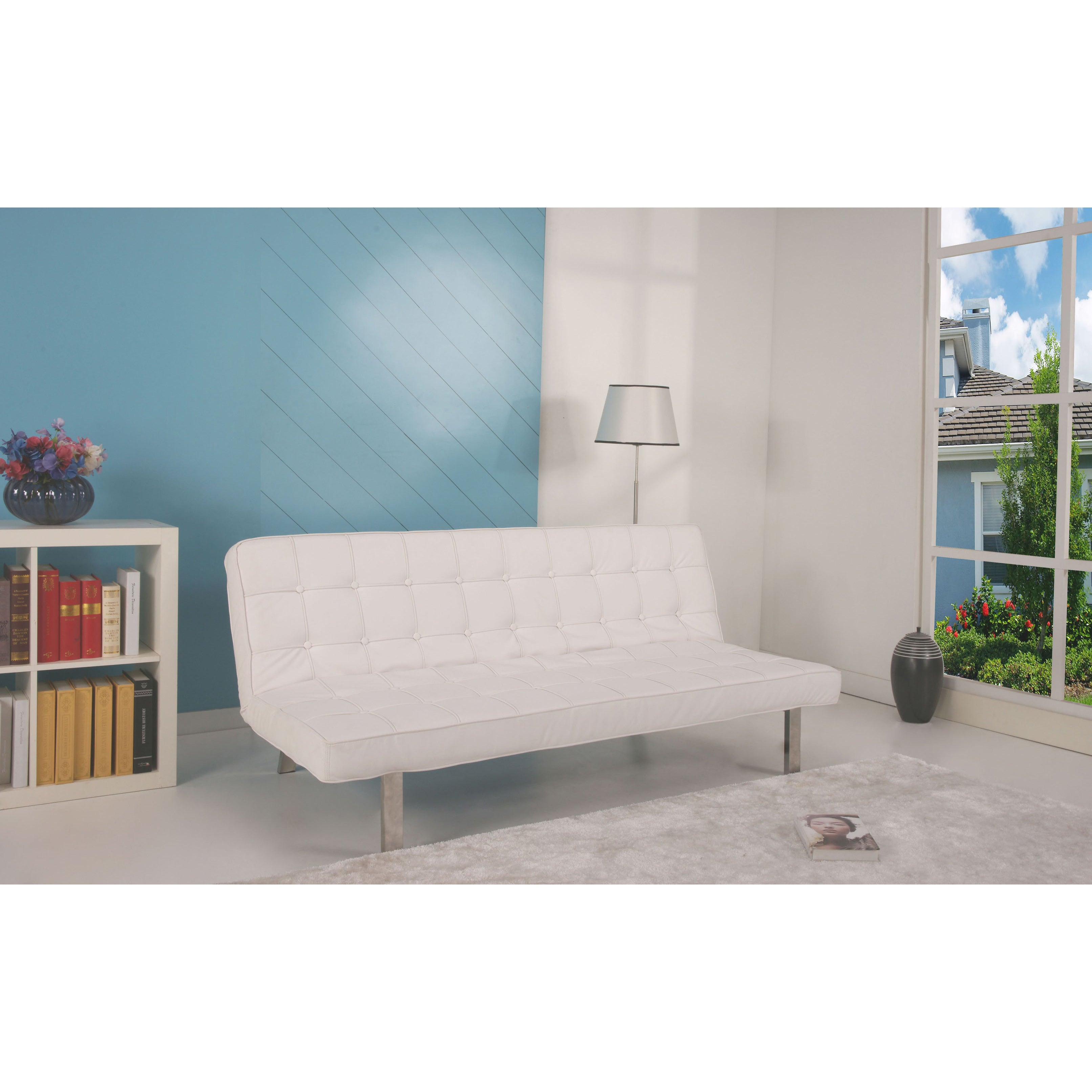 'Vegas' White Futon Sofa Bed at Sears.com