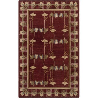 Hand-tufted Burgundy Floral Coleman New Zealand Wool Rug