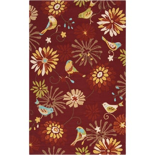 Hand-hooked Gatesville Red Indoor/Outdoor Floral Rug