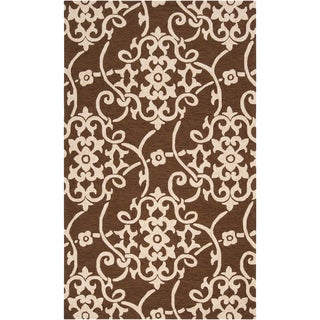 Hand-hooked Garrison Brown Indoor/Outdoor Floral Rug