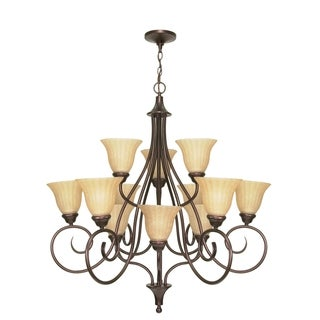 Nuvo 'Moulan' 12-light Copper Bronze Chandelier