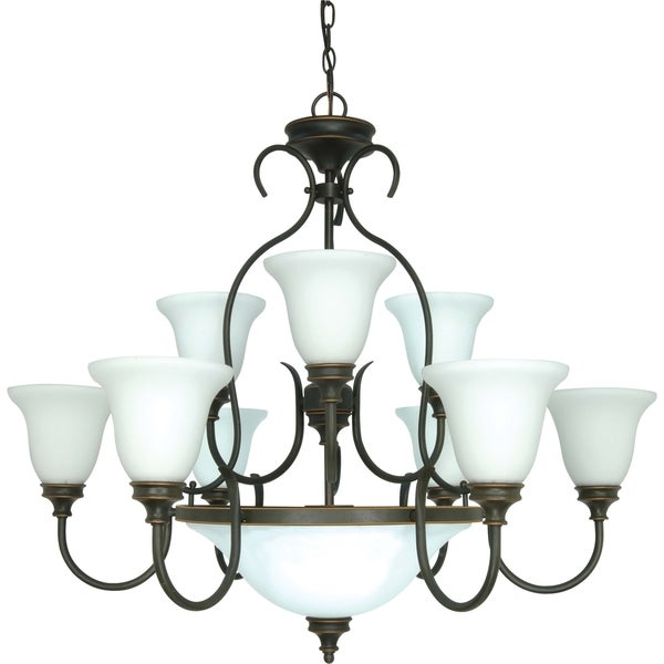 Nuvo 'Bistro' 12-light Rustic Bronze Chandelier