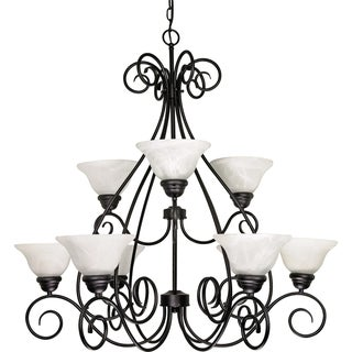 Nuvo 'Castillo' 9-light Textured Black Chandelier