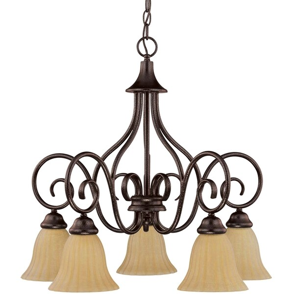 Nuvo 'Moulan' 5-light Copper Bronze Chandelier