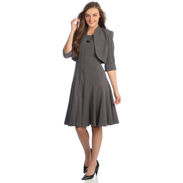 R & M Richards Women's Charcoal Career A-line Jacket Dress