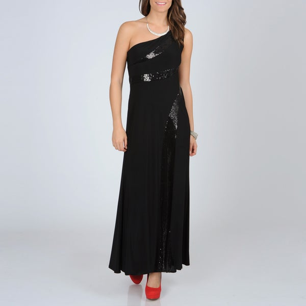 R & M Richards Black One-shoulder Sequined Gown