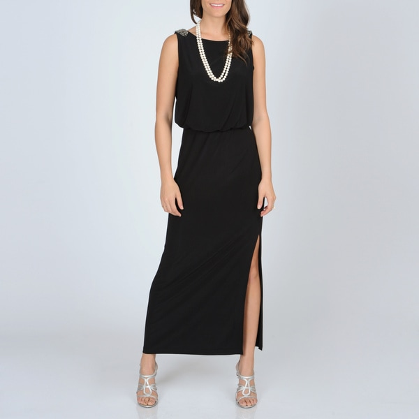 R & M Richards Women's Black Jersey Knit Gown