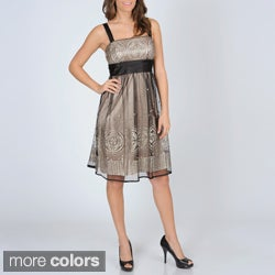 R & M Richards Women's Mesh Overlay Party Dress