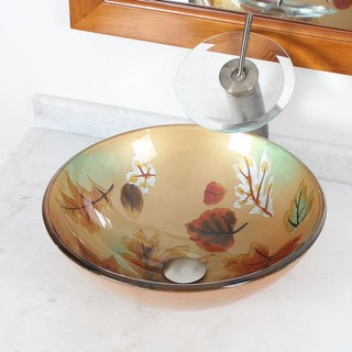 Elite Tempered Glass Leaf Picture Bathroom Vessel Sink