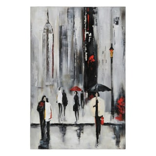 Lecavalier 'Bustling City I' Hand-painted Canvas Art