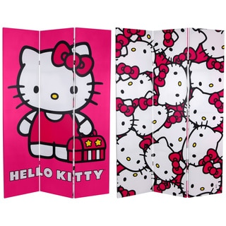 Six-Foot High Double Sided 'Hello Kitty' Pink Canvas Room Divider