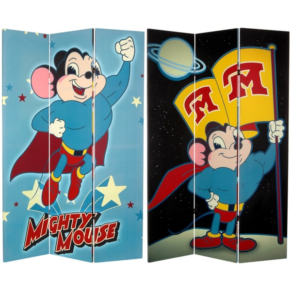Six-Foot Tall Double Sided 'Mighty Mouse' Canvas Room Divider