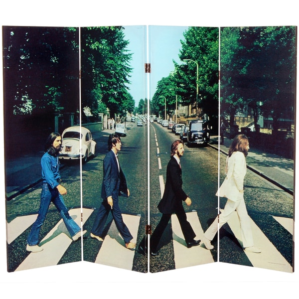Four-Foot Tall Double-Sided 'The Beatles Abbey Road' Canvas Room Divider