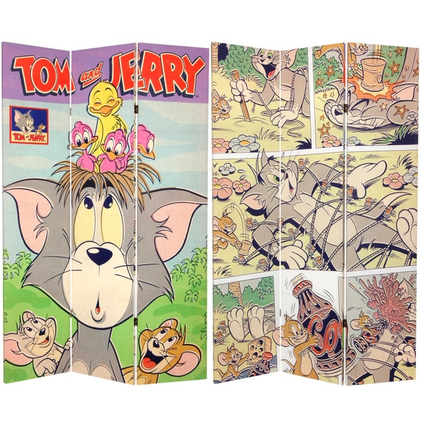 Six-Foot Tall Double Sided 'Tom and Jerry' Canvas Room Divider