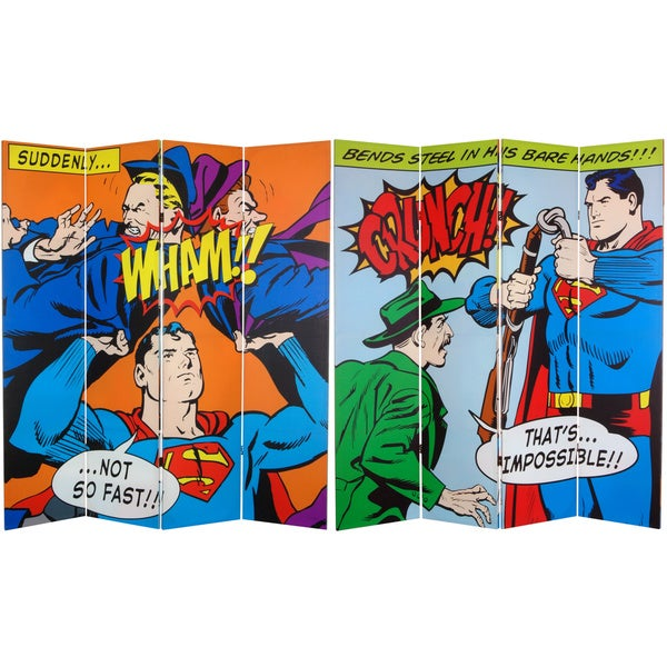Six-Foot Tall Double Sided 'Superman Classic' Canvas Room Divider 10263418