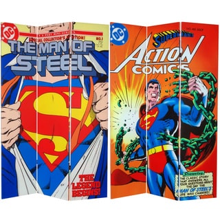 Six-Foot Tall Double Sided 'Superman Man of Steel' Canvas Room Divider