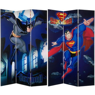 Six-Foot Tall Double Sided 'Superman and Batman' Canvas Room Divide