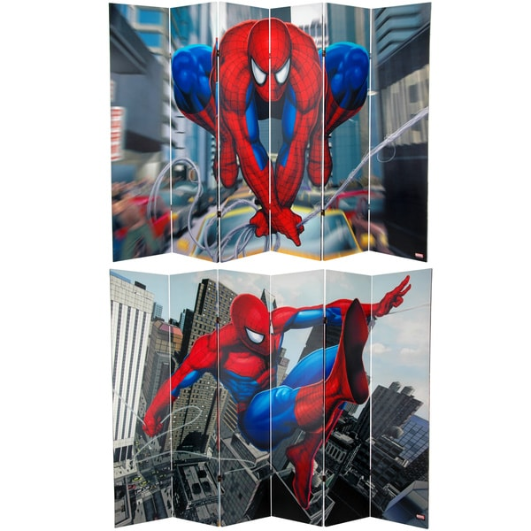Six-Foot Tall Double Sided 'Spider-Man Web-Slinger' Canvas Room Divider